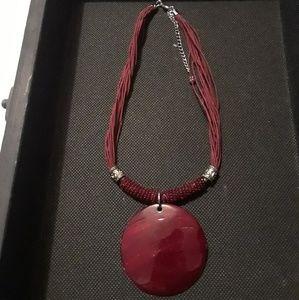 Burgundy Disk Necklace